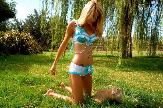 Rave/EDC Alice in Wonderland Outfit/Costume Bra/Panties Rhinestone Daisy Bra. $120.00, via Etsy.