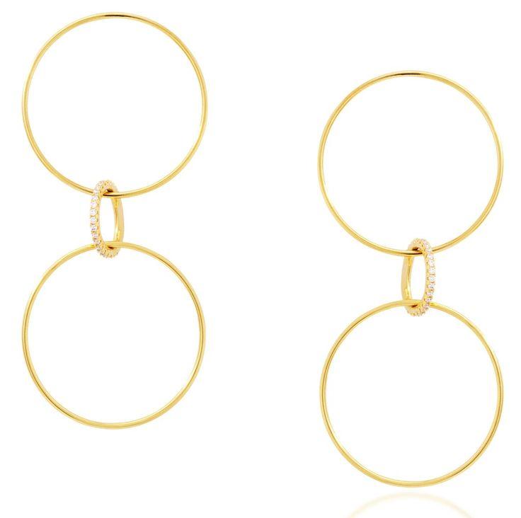 Link large hoop gold vermeil earrings