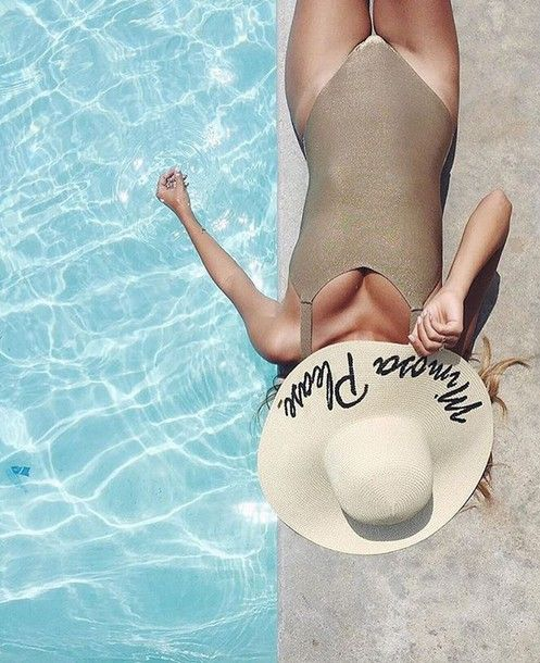 Hat: customized beach sun pool party pool swimwear one piece swimsuit