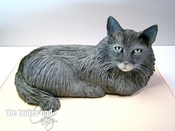 3-D sculpted cat cake by The Butter End Cakery