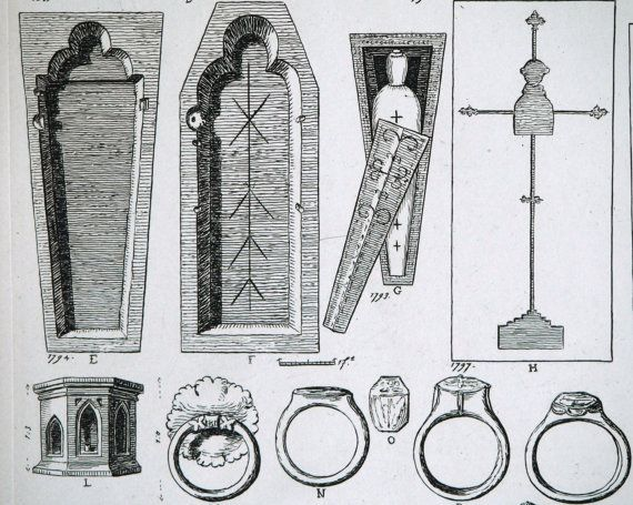 Really old coffins  Large Antique Engraving of Church Tombs and Coffins - Plate 59 - 1845 Architectural Drawing - British Architectural Gems