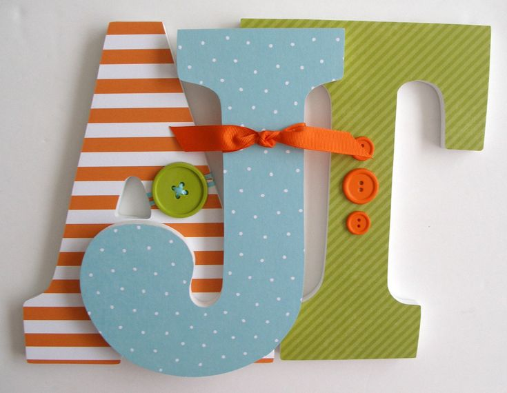 Custom Decorated Wooden Letters - ORANGE, AVOCADO & BLUE Theme - Nursery Bedroom Home Décor, Wall Decorations, Wood Letters, Personalized. via Etsy.