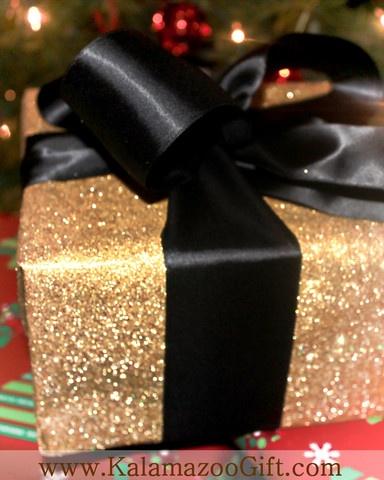 Kalamazoo Gift Company - Gift Wrapping Photo Gallery - Black Satin Ribbon on Glitzy Gold Paper