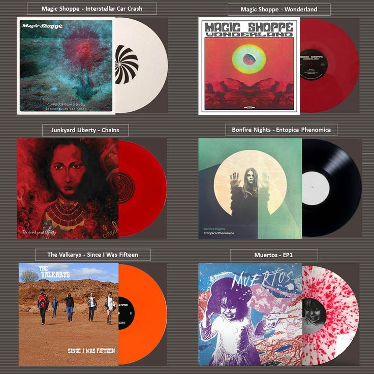 6 new releases from 5 mind blowing bands to loose your mind with their electricity!! Magic Shoppe -Interstellar Car Crash / Magic Shoppe -Wonderland / Junkyard Liberty -Chains / Bonfire Nights -Entopica Phenomica / The Valkarys -Since I Was Fifteen / Muertos -EP1