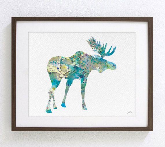 Blauwe Moose Art aquarel schilderen 8 x 10 van ElfShoppe op Etsy