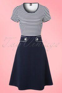 60s Isla Stripes Dress in Navy