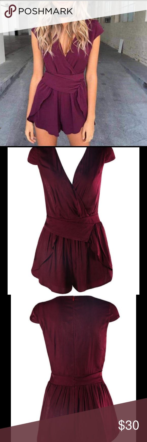 Lilac Shade Prezy Playsuit Color: Burgundy / Deep Purple Material: Polyester Measurements (cm) L: bust 92 waist 76 hips 94 Lilac Shade Pants Jumpsuits & Rompers