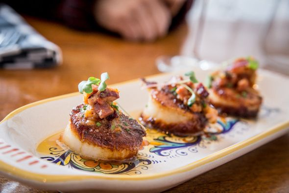 Bricco Kitchen and Wine Bar - Scallops with bacon soffritto ($15) #junctionTO