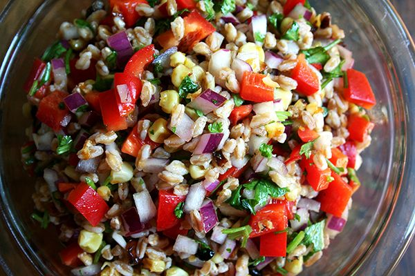 Farro Salad with Roasted Corn, Red peppers & Red Onions