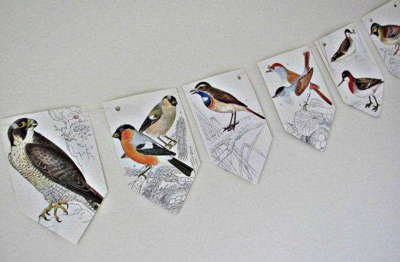 Birds paper bunting  Birds garland  Upcycled by ClaireWheatDesigns