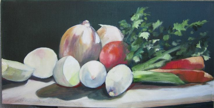"""Dedicated to my dearest late mother who used to brighten up my life with her spicy vegetable soup. 30 x 61 cm (12"""" x 24""""), Oil on canvas. Price on request."""