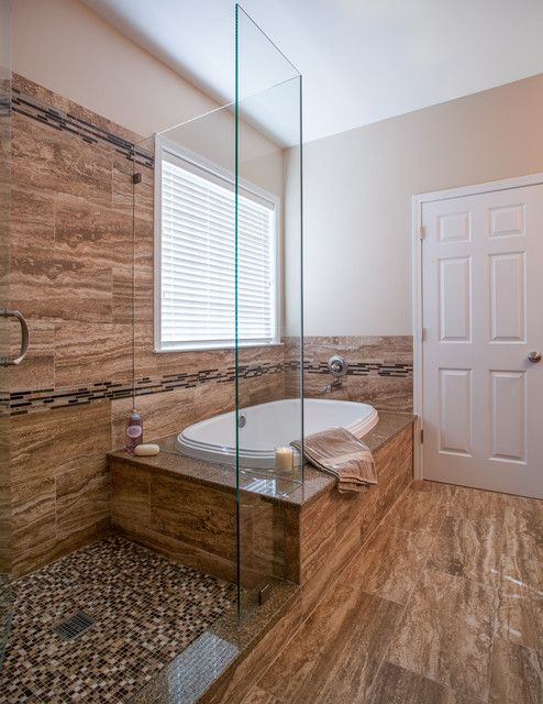 Preparing For Your Bathroom Renovation Cost By Checking Out Some Example : Contemporary Bathroom Renovation Pictures Ideas Also Beige Wall Paint Color And Brown Marble Flooring Also White Small Classic Bathtub Also Modern Faucet And Mixer Tap Also Glass Shower Divider And White Door