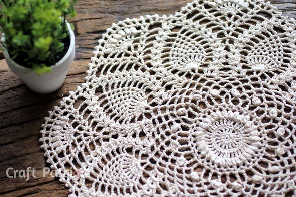 Written & chart pattern to crochet this beautiful puff stitch Pineapple Doily. Puff stitch design gives the pineapple doily an exquisite texture.– Page 2 of 2