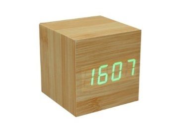 Amazon.com: GREENWON Fashion Cube Baomboo Wooden Clock Green LED Imitation Digital Alarm Clock Brand New Stylish with Thermometer Time Date Display Vioce Activated: Electronics