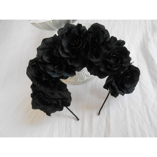 Black Frida Kahlo Headband Goth Rose Flower Crown Dark Romance Floral... ❤ liked on Polyvore featuring accessories, hair accessories, headband hair accessories, flower crowns, rose headband, bridal floral crown and bridal headbands