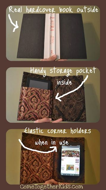 Totally going to make one of these... Combines my passion for old books with my Nook :) Although I will feel a little sad about destroying a book