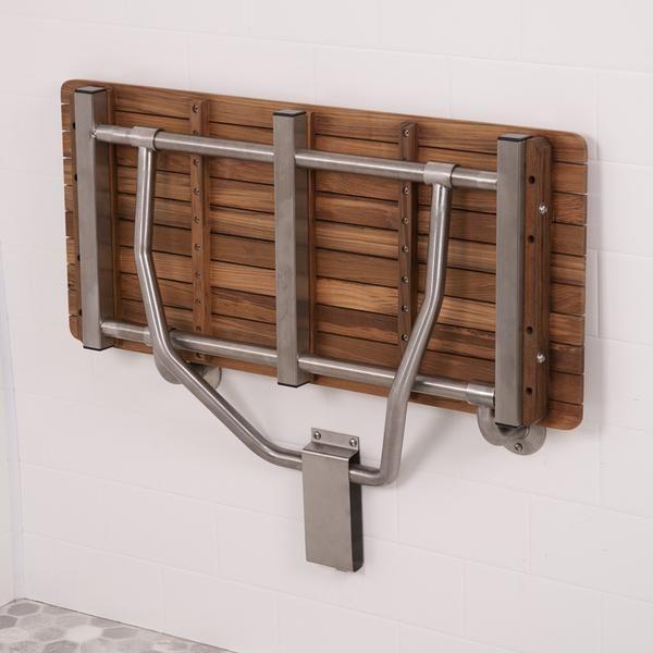 34 Wide Teak Ada Wall Mount Shower Bench Seat In 2020 Shower