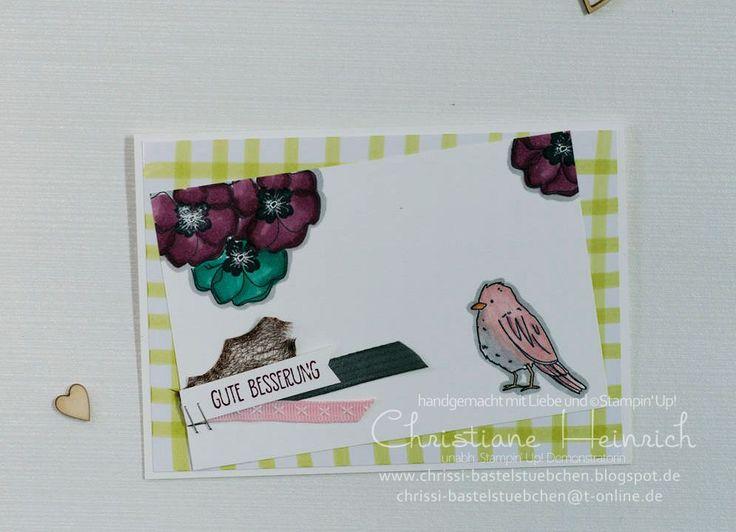 """Zur Genesung etwas farbenfrohes lenkt von Schmerzen ab und bringt einen auf andere Gedanken. Diese Karte eignete sich hervorragend dafür - mit den niedlichen Vögeln aus dem Set """"Farbenfroh"""""""