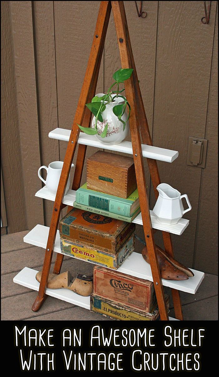 You don't see a lot of wooden crutches being used today but that doesn't mean there aren't lots sitting around unloved and unused. Find yourself a pair to make this awesome DIY shelf!