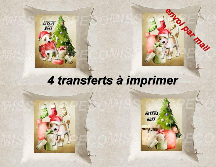 """4 images digitales pour transfert à imprimer """"christmas dog"""" envoi par mail : Loisirs créatifs, scrapbooking par miss-coopecoll"""