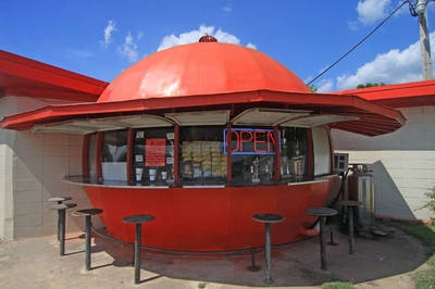 The Mammoth Orange in Arkansas is a roadside café and dairy bar. Featured on http://www.mentalfloss.com/blogs/archives/115895.