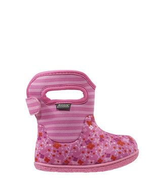 Bogs Classic Baby Boot in Flower Stripe Pink. #bogs #baby #girl #