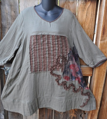 Art to Wear Lagenlook Asymmetrical Applique Tunic in Olive by Peacock Ways OS | eBay
