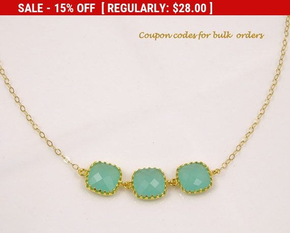 Mint Green Necklace, Gold Necklace, Unique Bridesmaid Gift Idea for Women, Bridal Shower Gifts for Bridesmaids Gifts for Maid of Honor Gift