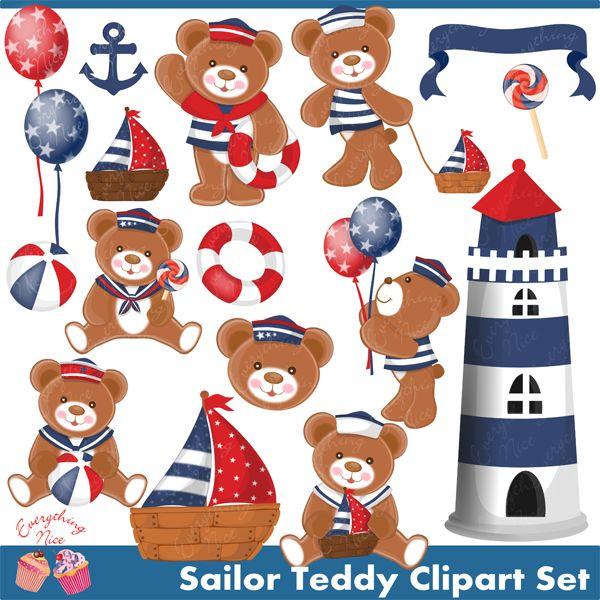 Sailor Teddy Clipart Set