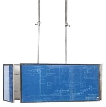 New Chandelier Vintage Blueprints Hand-Made Upcycled 2-Light Rectangular