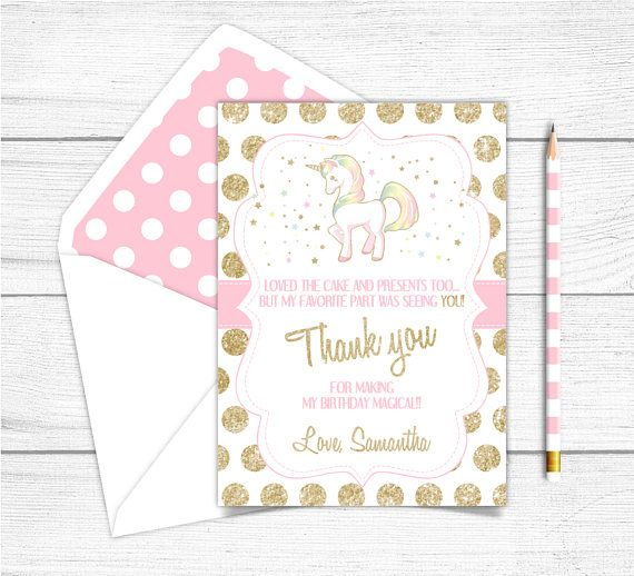 Printable Unicorn Birthday Thank you Card Magical Rainbow