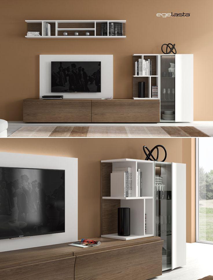 Muebles · egelasta · live · mueble · madera · moderno · comedor · estanterías · roble cuero · laca blanco · iluminación led
