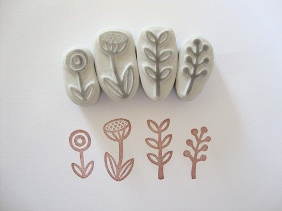 Little Garden No. 2 Hand Carved Rubber Stamp Set