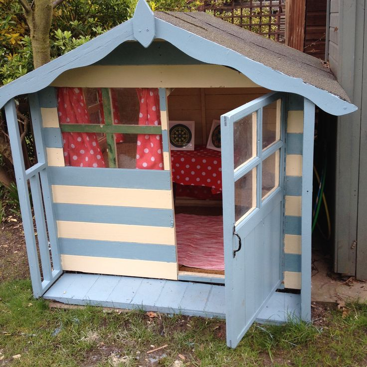 136 best playhouse beach hut images on pinterest kids for Wooden wendy house ideas