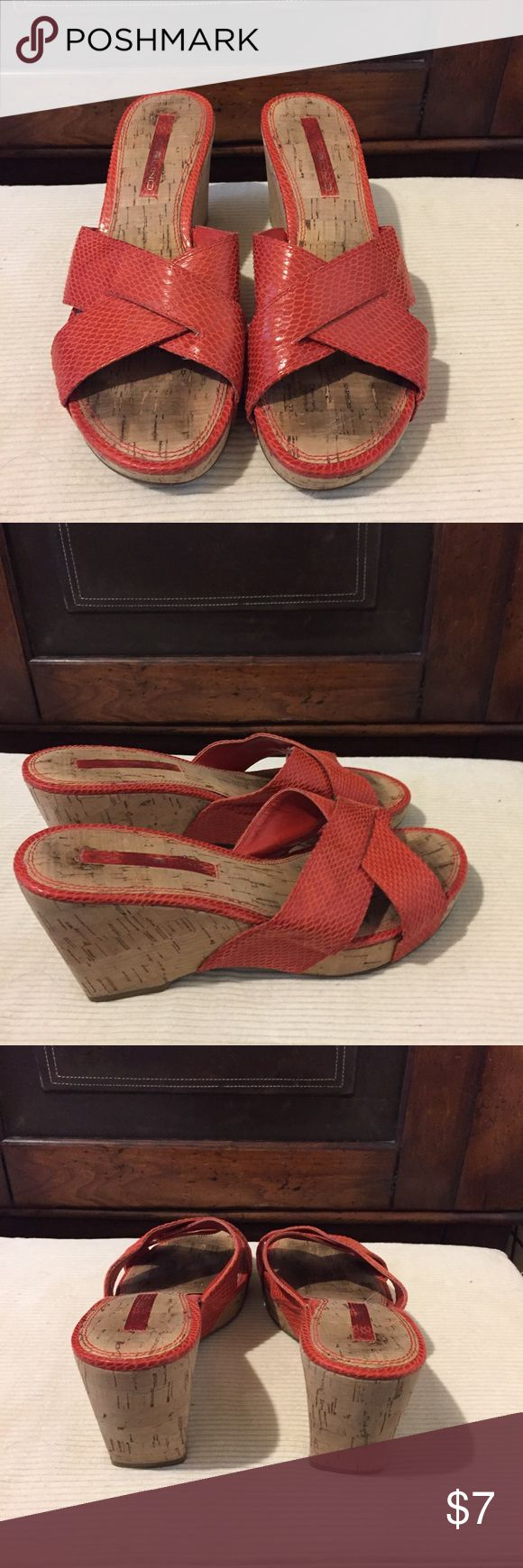 Orange Wedge slip on shoes Slip on wedge with cork heel. Spots where foot goes but can't see when you wear them. Bandolino Shoes Wedges
