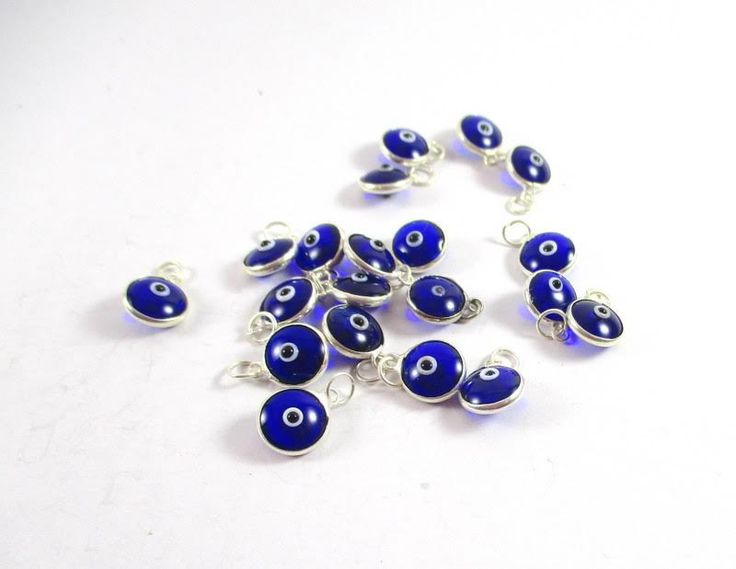 5 pcs Evil Eye Beads, Evil Eye Beads, Evil Eye, Mini Gold Round Evil Eye Beads…