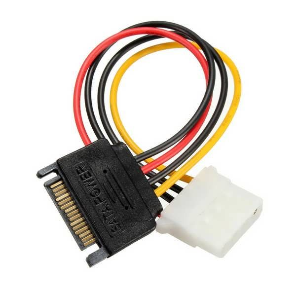 SATA 15 Pins to IDE 4 Pins HDD Power Adapter Cable Lead Wire For PC Hard Drive       Specifications: Power cable length: 150mm Connectivity: SATA 15 pins to IDE 4 pins Easy to install Making them less likely to become dislodged Package Included: 1x SATA 15 Pins to IDE 4 Pins HDD Power Adapter...