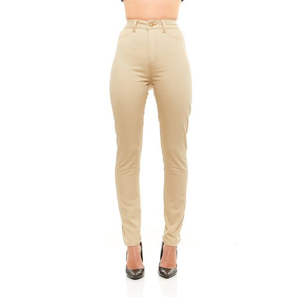 Women's Red Jeans NYC High Waist Women's Stretchy Denim Pants ($16) ❤ liked on Polyvore featuring jeans, beige, zipper jeans, stretch jeans, white high-waisted jeans, white jeans and high rise white jeans