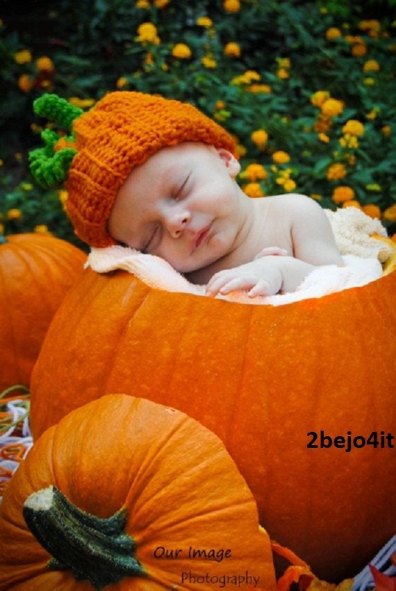 newborn infant baby boy or girl pumpkin HAT crochet costume halloween  photo prop