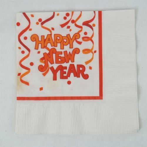 Vtg Paper Party Napkin Confetti Streamers Happy New Year Scrapbook Craft