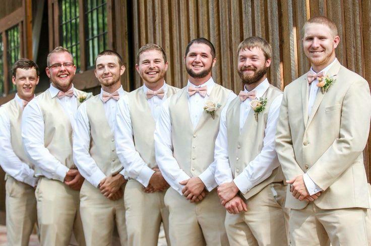 Peach wedding | tan groomsmen suit | peach bow tie | summer wedding | north GA wedding | barn wedding | Southern elegant wedding | rustic wedding