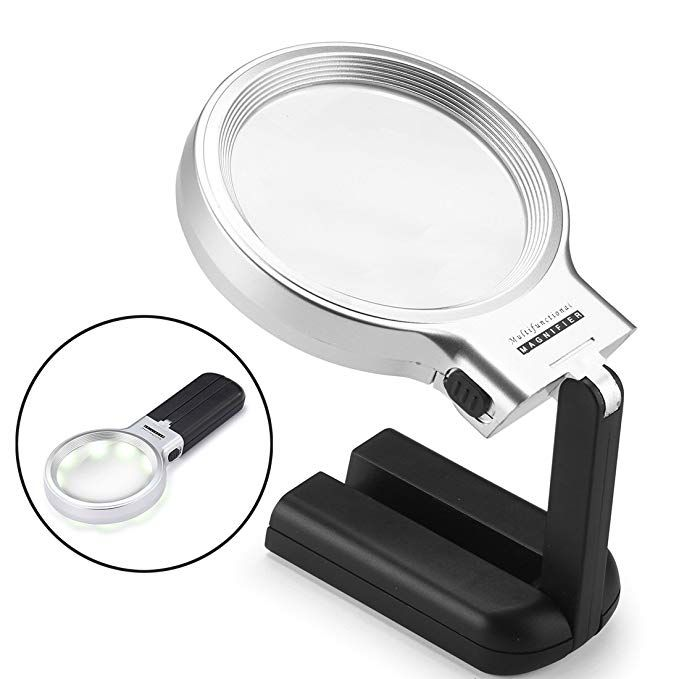 Dicfeos Led Lighted Hands Free Magnifying Glass With Light Stand