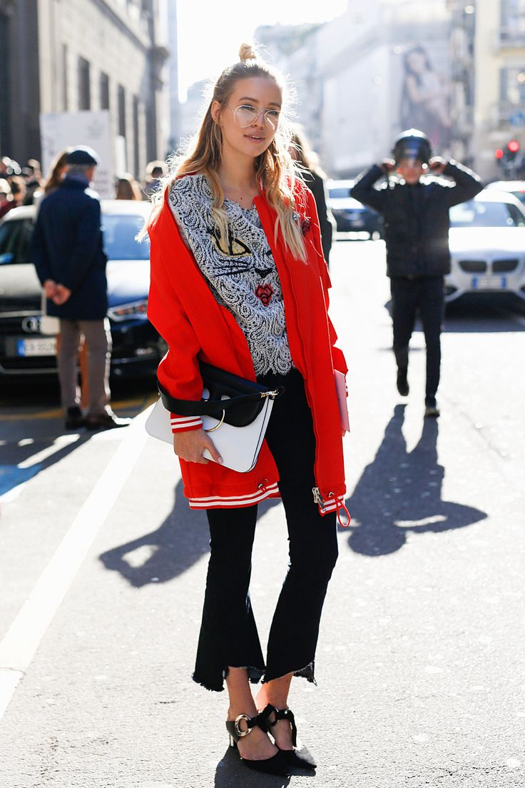 Ermanno Scervino bomber & lace shirt | Milan. Lace shirt+black flare cropped jeans+black heels+red long bomber jacket+black and white shoulder bag+glasses. Spring Casual Outfit 2017