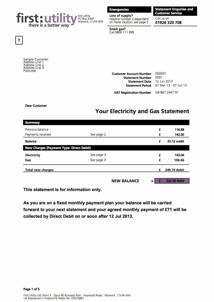 Water Bill Template Inspirational First Utility Bill Explained Myutilitygenius Bill Template Invoice Template Statement Template