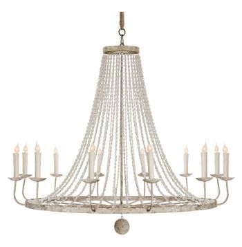 Naples French Country Classic Beaded Gray 12 Light Chandelier. #kathykuohome #chandelier #FrenchCountry