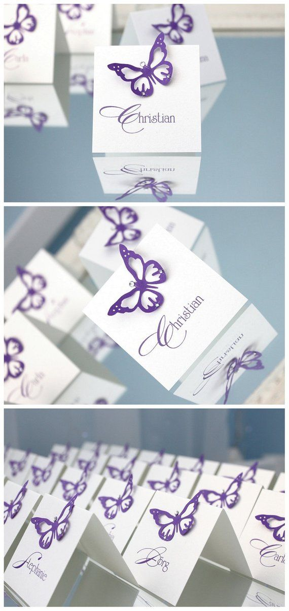 d0fbcf07833dd White wedding place cards with lavender purple paper lace butterfly ...