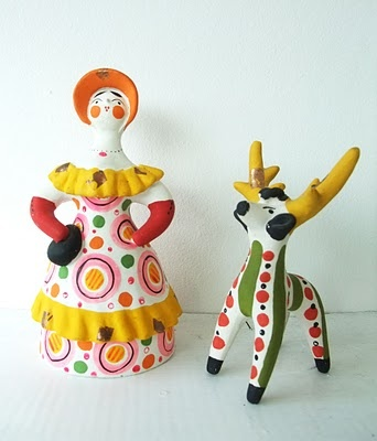 Russian Dymkovo ceramic figures