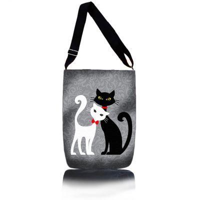 Kabelka přes rameno - Černá a Bílá Kočka