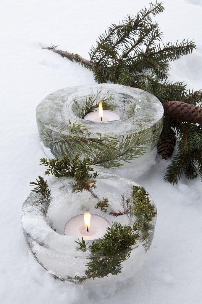 Décoration de noël naturelle à fabriquer    Petits photophores glacés