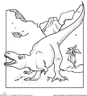 85b99323f4daf0c82d1fc694bde26f2e--dinosaur-coloring-pages-t-rex Preschool Kindergarten Dinosaurs Worksheets: Color the Dinosaur: Tyrannosaurus R... Dinosaurs